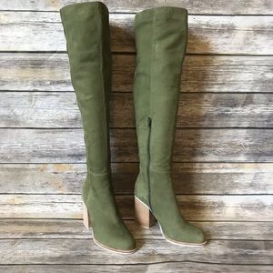 Collina Strada 7 green nubuck knee high boots